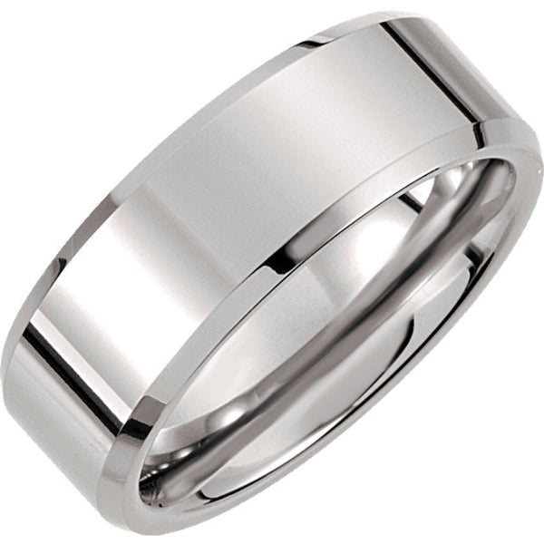 Tungsten Beveled & Polished Men's Wedding Ring - Michael E. Minden Diamond Jewelers