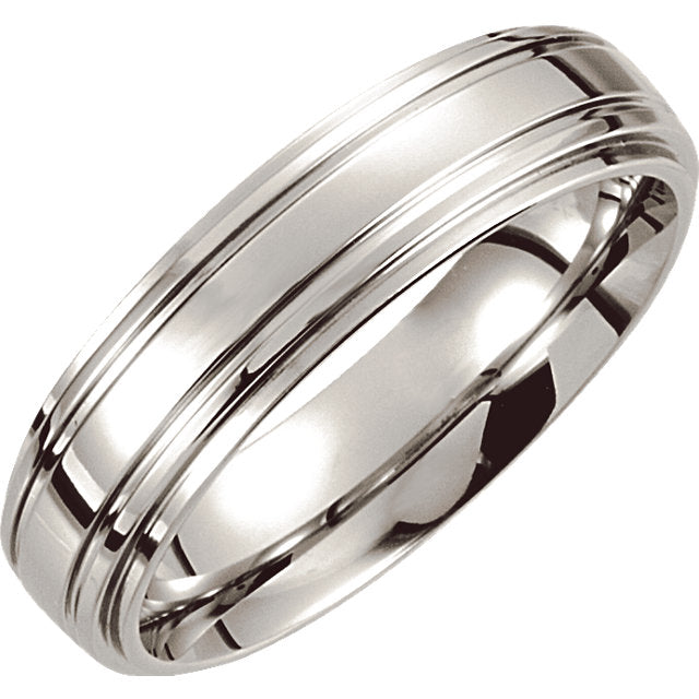 Cobalt Double Ridged Men's Wedding Ring - Michael E. Minden Diamond Jewelers
