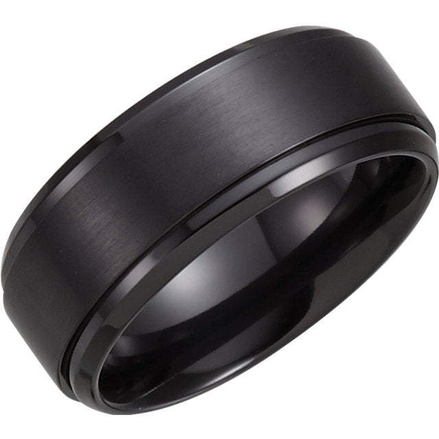 Black Titanium Ridged Men's Wedding Ring - Michael E. Minden Diamond Jewelers