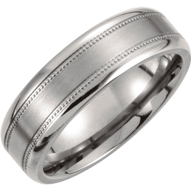 Titanium Milgrain Men's Wedding Ring - Michael E. Minden Diamond Jewelers