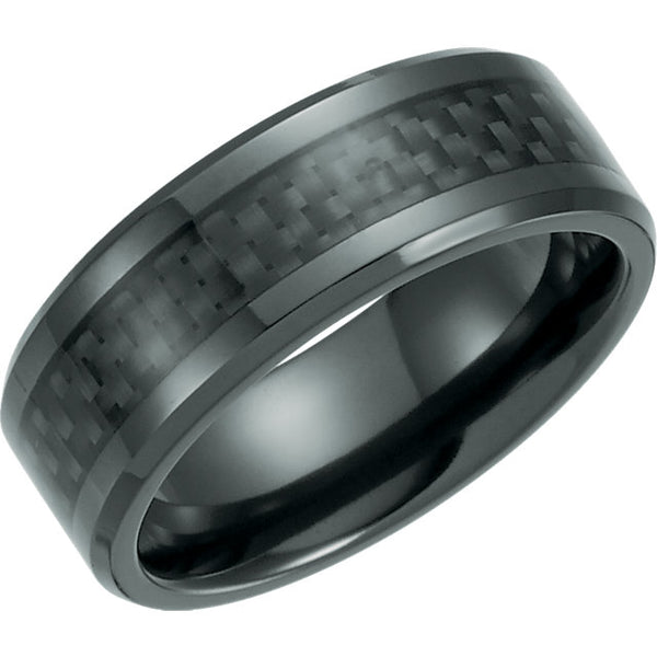 Black Titanium & Carbon Inlay Beveled Men's Wedding Ring - Michael E. Minden Diamond Jewelers
