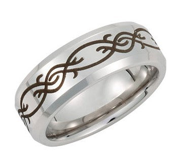 Cobalt Laser-Engraved Men's Wedding Ring - Michael E. Minden Diamond Jewelers