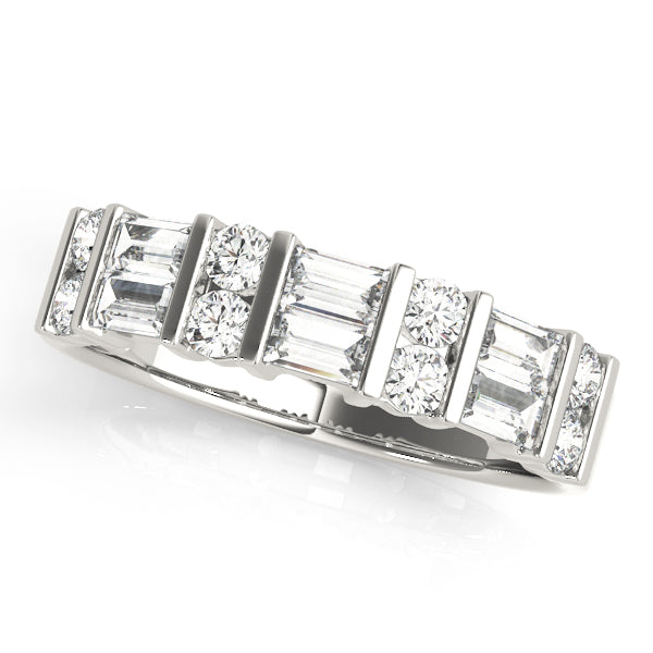 Double Baguette and Round Bar-Set Wedding Ring - Michael E. Minden Diamond Jewelers