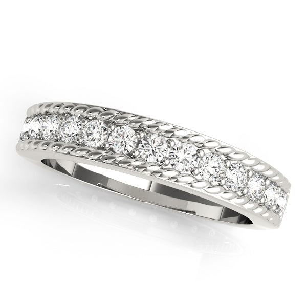 Rope Halo Round Wedding Ring - Michael E. Minden Diamond Jewelers