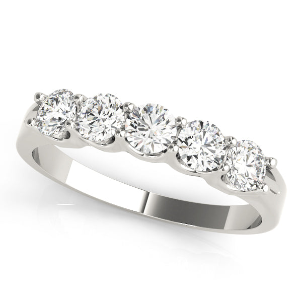 Five Stone Prong-Set Wedding Ring - Michael E. Minden Diamond Jewelers