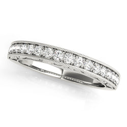 Milgrain Detail Prong-Set Wedding Ring - Michael E. Minden Diamond Jewelers