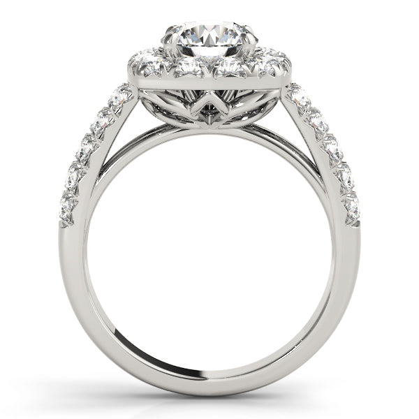 Round Larger Set Halo Engagement Ring - Michael E. Minden Diamond Jewelers