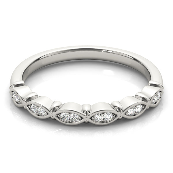 Alternating Design Wedding Ring - Michael E. Minden Diamond Jewelers
