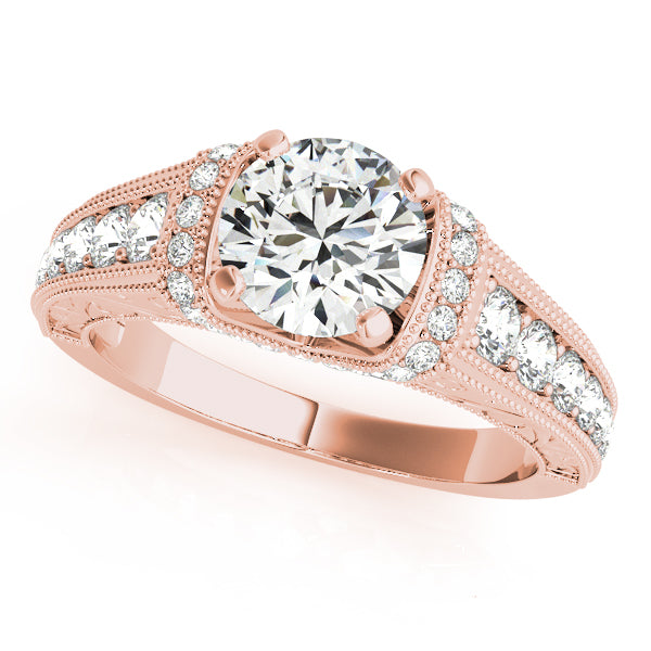 Intricate Diamond Milgrain Engagement Ring - Michael E. Minden Diamond Jewelers