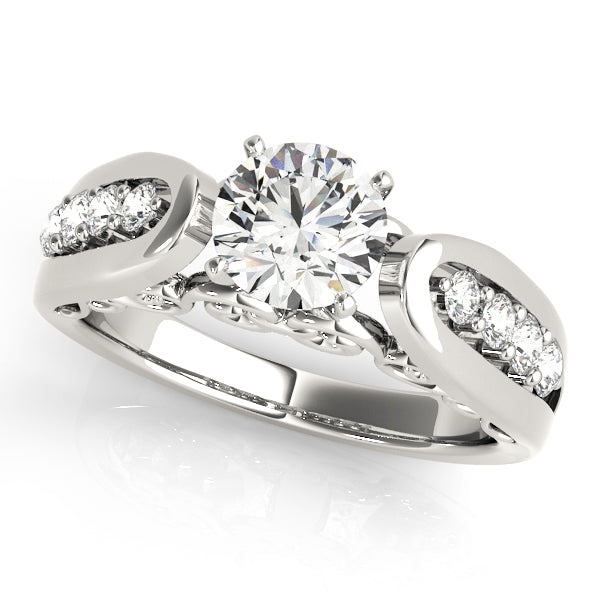 Round Floating Set Engagement Ring - Michael E. Minden Diamond Jewelers