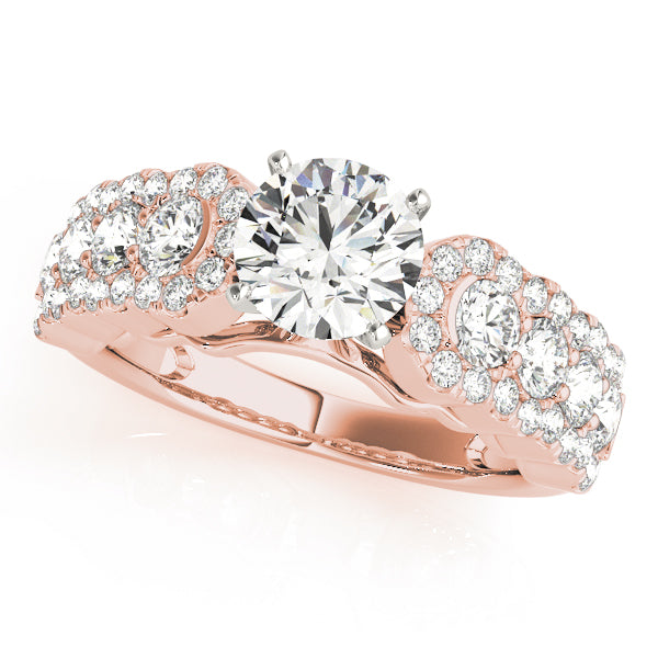Wide Set Halo Diamond Detail Engagement Ring - Michael E. Minden Diamond Jewelers
