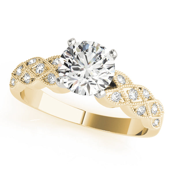Milgrain Crisscross Engagement Ring - Michael E. Minden Diamond Jewelers