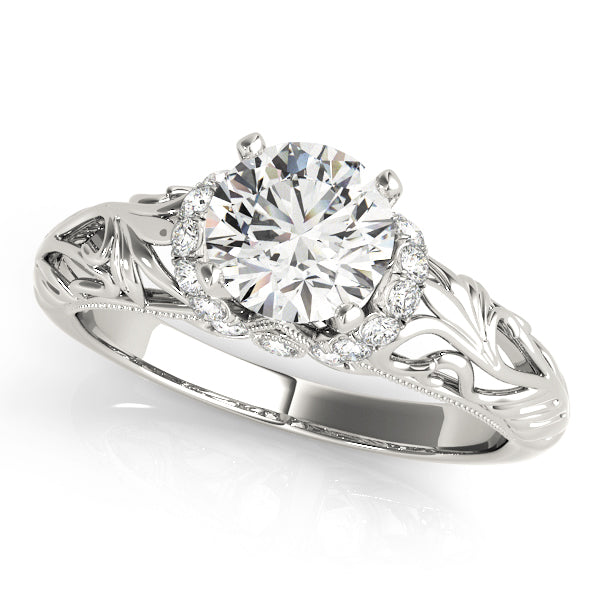 Feathered Detail Diamond Set Engagement Ring - Michael E. Minden Diamond Jewelers