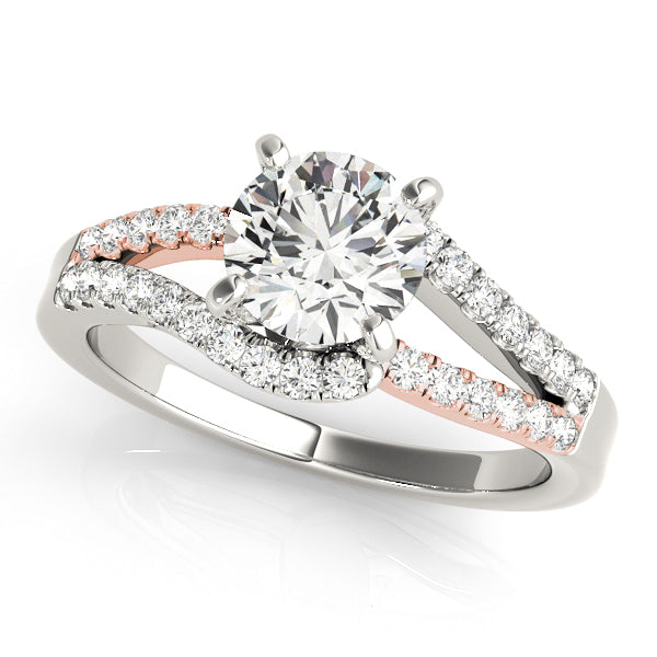 Two-Tone Round Split Shank Engagement Ring - Michael E. Minden Diamond Jewelers