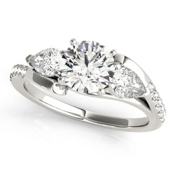 Round & Pear Set Wrapped Engagement Ring - Michael E. Minden Diamond Jewelers