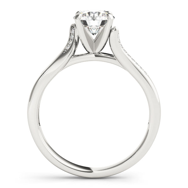 Round Diamond Detail Engagement Ring - Michael E. Minden Diamond Jewelers