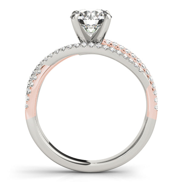 Two-Tone Rose Gold Twisted Row Engagement Ring - Michael E. Minden Diamond Jewelers