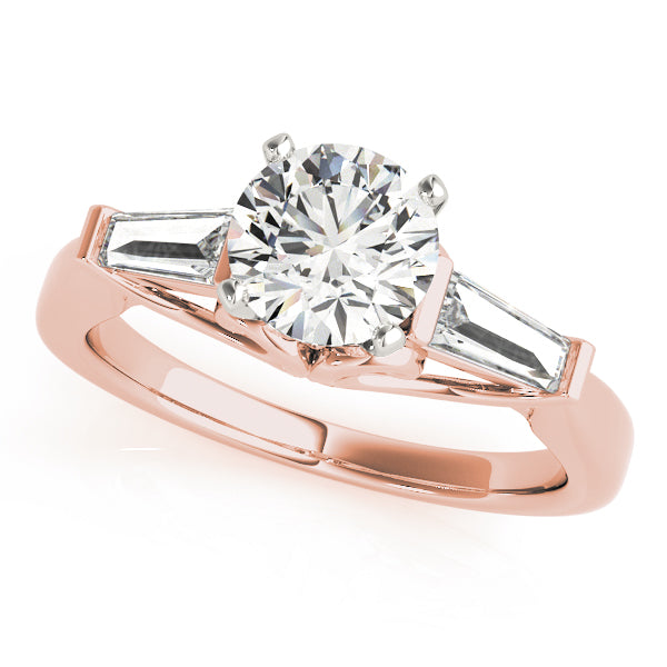 Round Cut Baguette Set Engagement Ring - Michael E. Minden Diamond Jewelers