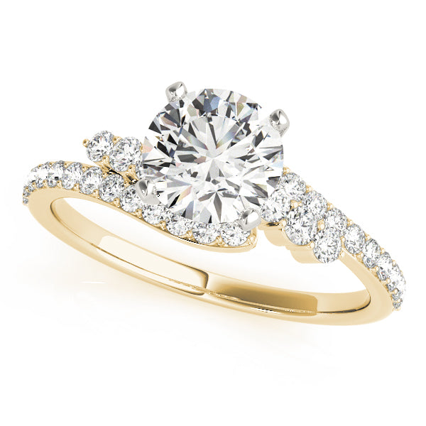 Round Bypass Halo Engagement Ring - Michael E. Minden Diamond Jewelers