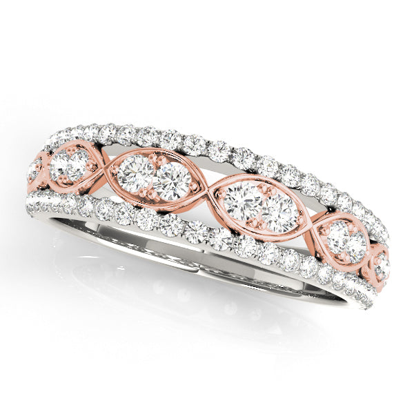 Two-Tone Alternating Middle Row Wedding Ring - Michael E. Minden Diamond Jewelers