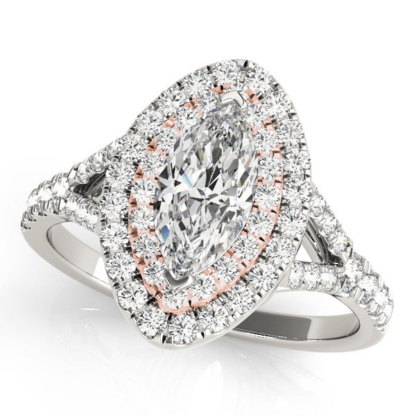 Marquise Two-Tone Double Halo Engagement Ring - Michael E. Minden Diamond Jewelers