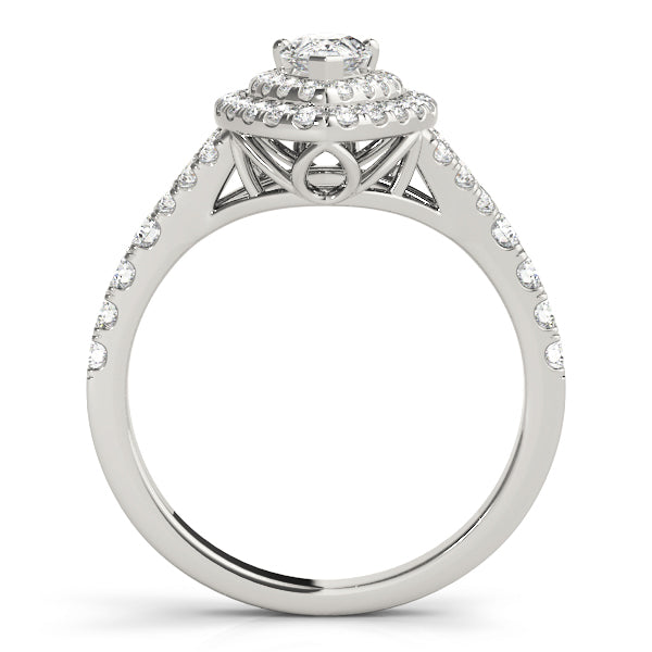 White Gold Double Halo Pear Engagement Ring - Michael E. Minden Diamond Jewelers