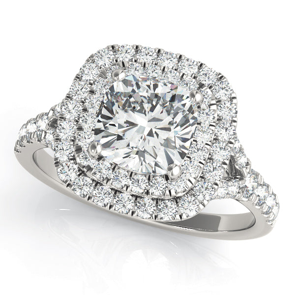 Round Cut Square Double Halo Engagement Ring - Michael E. Minden Diamond Jewelers