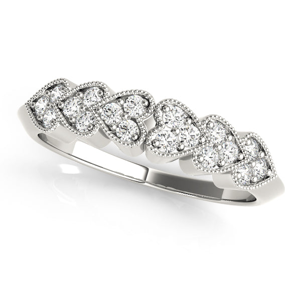 Heart Design Round Diamond Wedding Ring - Michael E. Minden Diamond Jewelers