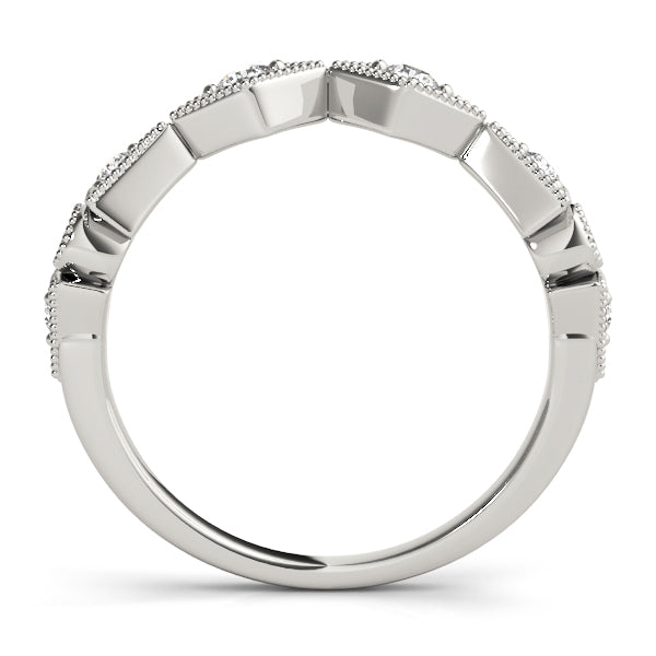 Diamond Shape Round Wedding Ring - Michael E. Minden Diamond Jewelers