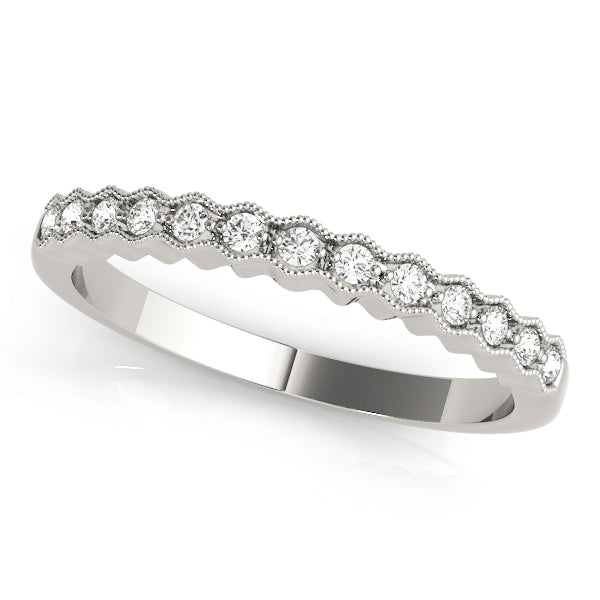 Romantic Wave Milgrain Wedding Ring - Michael E. Minden Diamond Jewelers