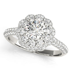Floral Inspired Halo Engagement Ring - Michael E. Minden Diamond Jewelers