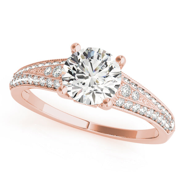Round Wide Tapered Bead Detail Engagement Ring - Michael E. Minden Diamond Jewelers