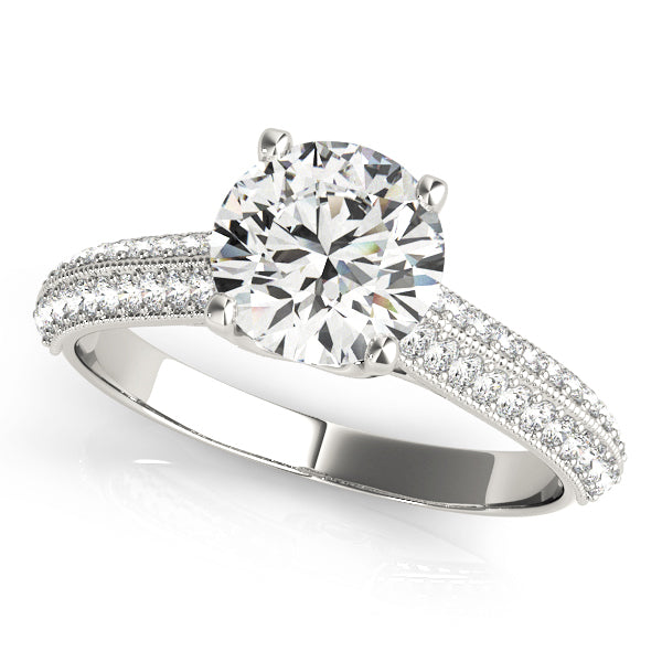 Round Two Row Beaded Detail Engagement Ring - Michael E. Minden Diamond Jewelers