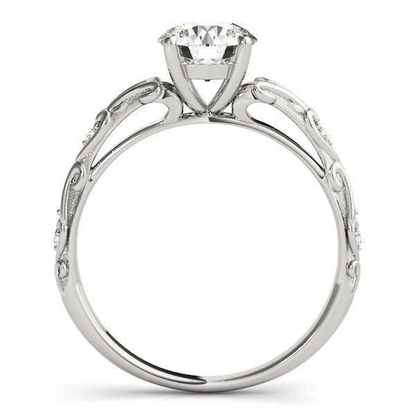Round Swirl Side Detail Engagement Ring - Michael E. Minden Diamond Jewelers