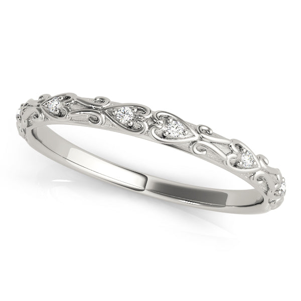 Heart Swirl Detail Wedding Ring - Michael E. Minden Diamond Jewelers