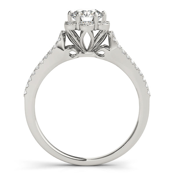 Floral Inspired Halo Split Shank Engagement Ring - Michael E. Minden Diamond Jewelers