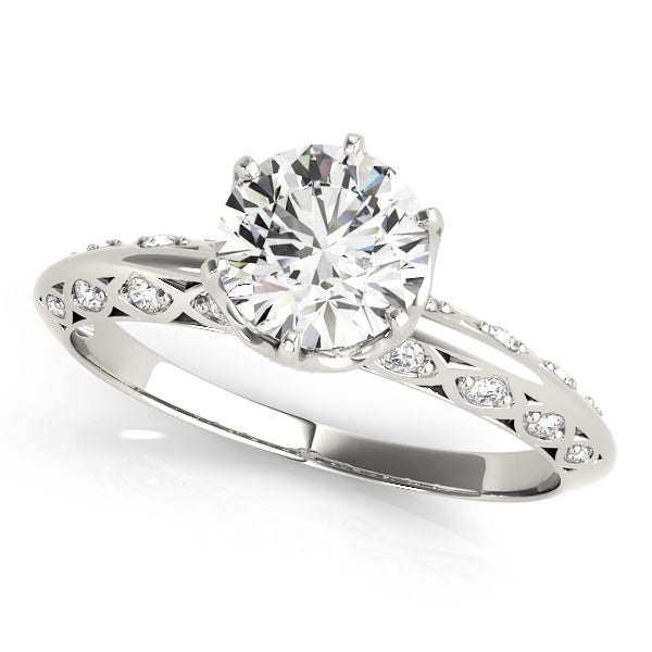 Round Cut Eccentric Side Detail Engagement Ring - Michael E. Minden Diamond Jewelers