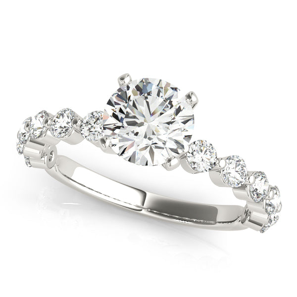 Round Cut with Individual Set Round Diamond Engagement Ring - Michael E. Minden Diamond Jewelers