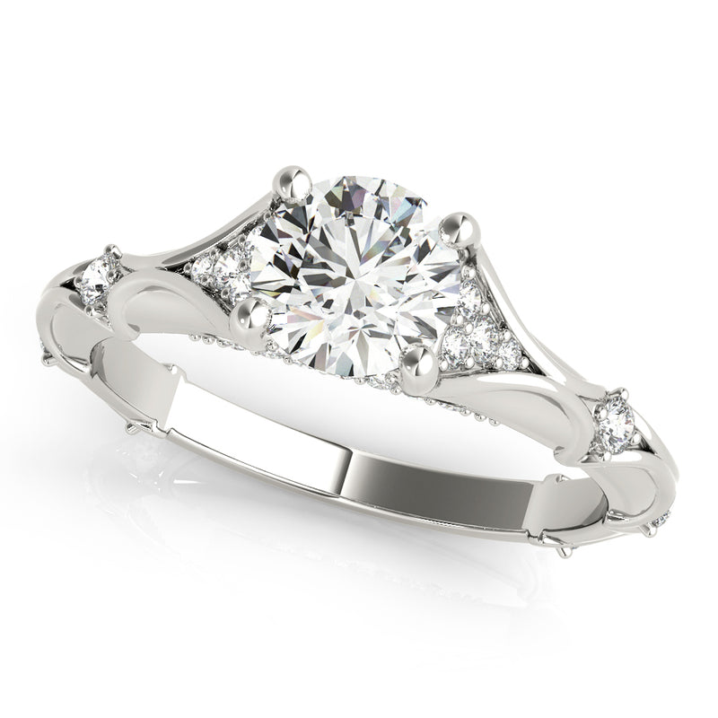 Round Unique Diamond Side Detailed Engagement Ring - Michael E. Minden Diamond Jewelers