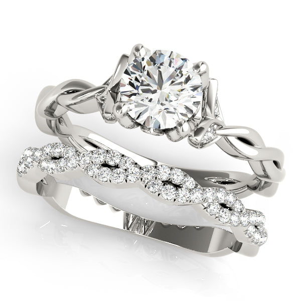 Round Twisted Detail Engagement Ring - Michael E. Minden Diamond Jewelers