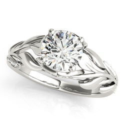 Round Wide Leaf-Inspired Engagement Ring - Michael E. Minden Diamond Jewelers