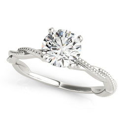 Round Solitaire Beaded Twist Engagement Ring - Michael E. Minden Diamond Jewelers