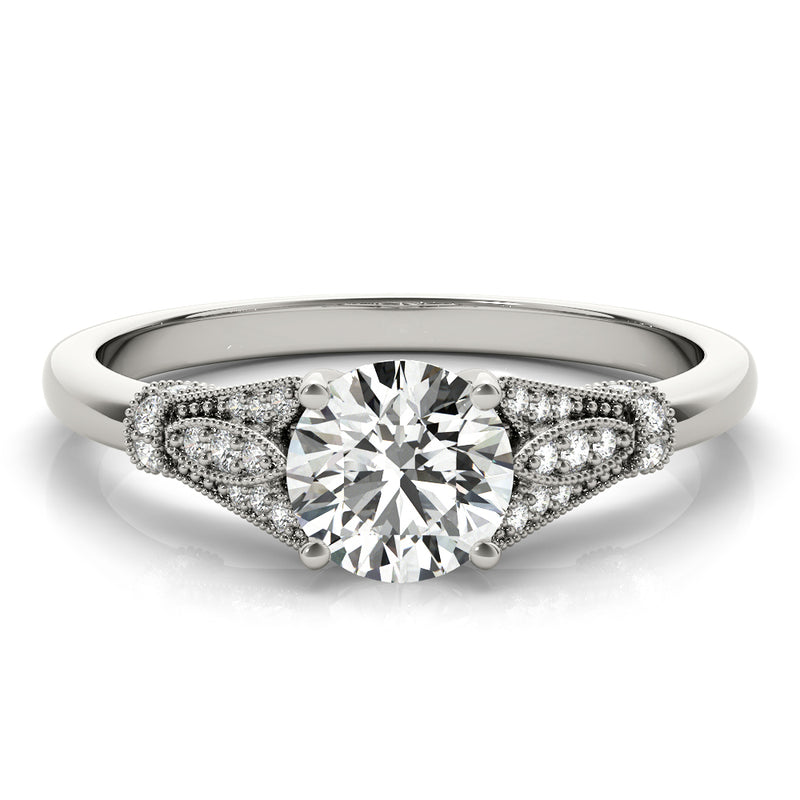 Round Milgrain Side Detail Engagement Ring - Michael E. Minden Diamond Jewelers