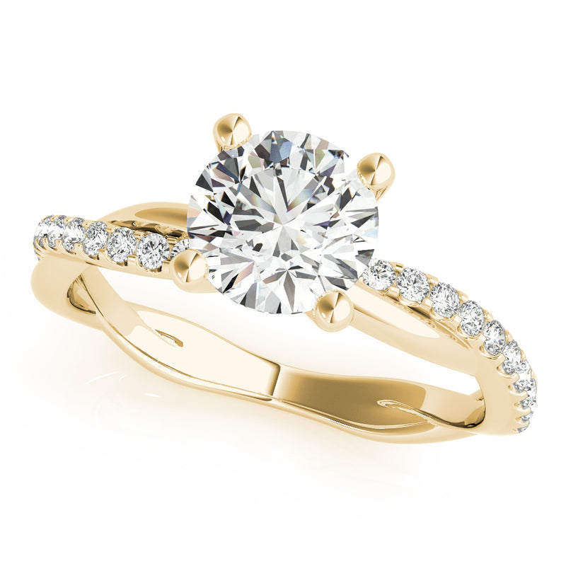Round Diamond Twisted Band Engagement Ring - Michael E. Minden Diamond Jewelers