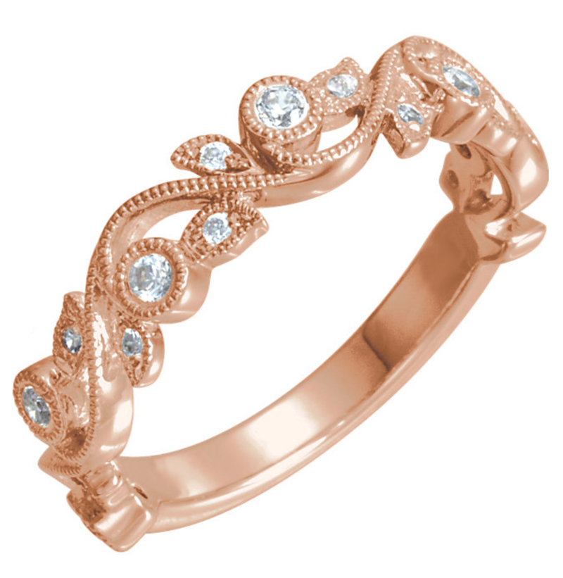Nature-Inspired Swirl Wedding Ring - Michael E. Minden Diamond Jewelers