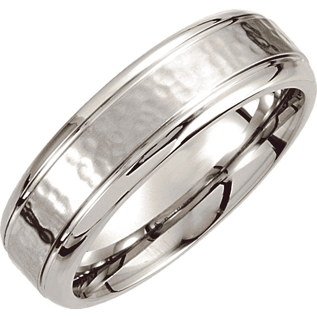 Cobalt Comfort Fit Hammered Men's Wedding Ring - Michael E. Minden Diamond Jewelers