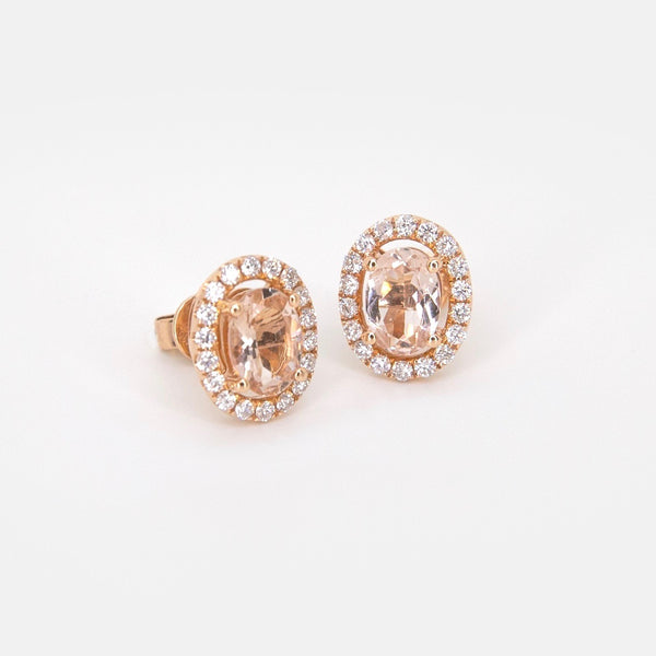 Oval Morganite Diamond Halo Earrings - Michael E. Minden Diamond Jewelers