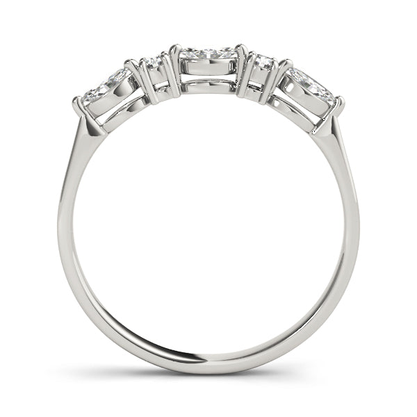 Marquise and Round Prong-Set Wedding Ring - Michael E. Minden Diamond Jewelers