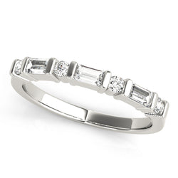 Baguette and Round Bar-Set Wedding Ring - Michael E. Minden Diamond Jewelers