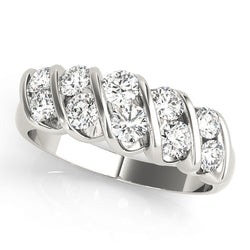 Double Stone Swirl Wedding Ring - Michael E. Minden Diamond Jewelers